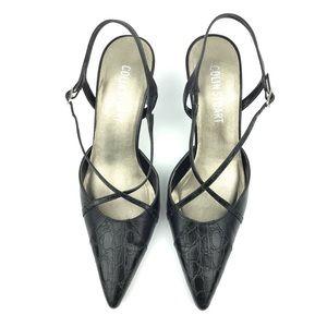 Colin Stuart Black Leather Crocodile Heels size 7